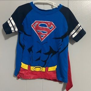 🧨 Boys Superman Top with Removable Cape